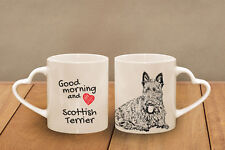 "Scottish Terrier - ceramic cup, mug ""Good morning and love, heart"",UK"