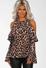 UK Womens Leopard Print Bell Sleeve Shirt Ladies Cold Shoulder Ruffle Top Blouse