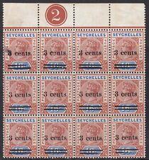 SEYCHELLES 1901 3C ON 16C PLATE BLOCK OF TWELVE, MINT, CAT £102+