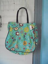 TAG blue vintage print heavy cotton fabric bag TOTE fake leather handles NEW