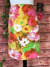 Talbots Skirt size 14 Petite Pink Yellow Floral Tropical Straight Knee Church
