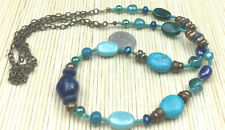 Fashion Necklace Turquoise Magnesite Lapis Teal Aqua Glass Brass Beaded Strand