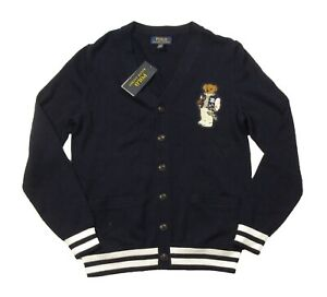 Polo Ralph Lauren Boys Navy Collegiate Polo Bear V-Neck Cardigan Sweater