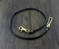"22""  Handmade Brass Hook Black Real Leather Braid Wallet Chain Biker Keychain"