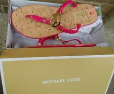NEW MICHAEL KORS MK CHARM JELLY PINK GOLD FLIP FLOP CORK BOTTOM SANDALS SIZE 9