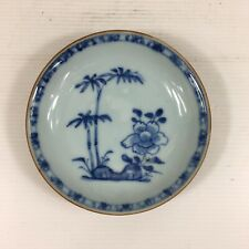 More details for antique 18th century chinese batavian bamboo & peony nanking saucer 11.8cm d