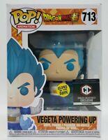 Funko Pop! Dragon Ball Z #713 GITD Exc Vegeta Powering Up + Protector Damaged