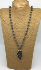 Fashion  Gray Stones Beads Chain Arrowhead Pendant Necklace woman handmade gift