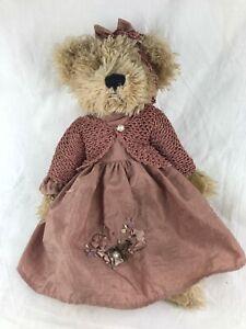 TEDDY BEAR - SETTLER BEAR - 27 CM CROCHETED JACKET - SILKY DRESS & APPLIQUE