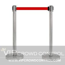 """2 Pcs Stanchion Set, 36"""" Satin S.S. With 12"""" Flat Base And 78"""" Red Belt"""