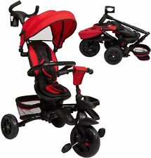 Kinbor Baby Tricycle 7 in 1 Foldable Steer Stroller with Learning Bike Red