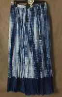 NEW DIRECTIONS Blue Boho Tie Dye Maxi Gypsie Skirt Broomstick Hippie Style Sz L