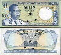 DR Kongo 1000 Francs. UNZ Annulliert 01.08.1964 Banknote Kat# P.8c