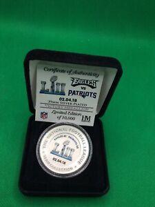 Philadelphia Eagles Super Bowl 52 Victory Medallion Silver Plated Highland Mint