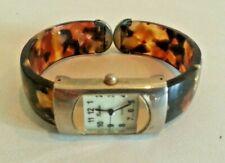 Vintage Geneva Ladies Wristwatch Watch - Lucite Tortoise Shell Plastic Clamp-On