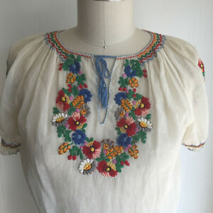 Vintage Hungarian Blouse Hungarian Embroidery Prairie Sheer Linen Top S or XS