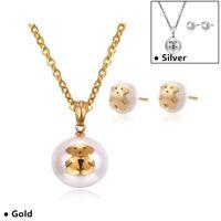 18K Gold Pearl Jewelry Women Fashion Teddy Bear Necklace Earrings Wedding Set
