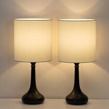 Set of 2 Modern Bedside Lamp White Linen Table Lamp Pair...