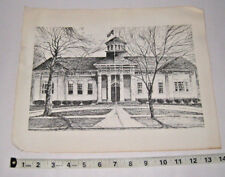 Print of a Sketch of City Hall Bogalusa Louisiana by Willard Harrell