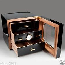 COHIBA Black Gloss Piano Cedar Wood Cigar 3 Drawers Cabinet Humidor W/Hygrometer