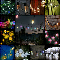 NEW LED String Lights Multi Colour White Indoor Outdoor Garden Party Solar Retro