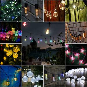 NEW LED String Lights Multi Colour White Indoor Outdoor Garden Party Solar Retro