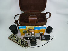 Vintage Pentacon Praktica Camera w/Lenses in Leather Case