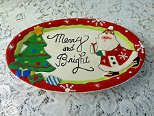 """Fitz and Floyd """"Merry and Bright"""" Santa Christmas Sentiment Plate"""