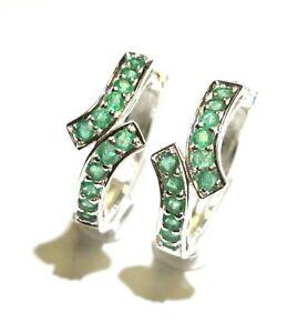 New 925 sterling silver Natural Green Emerald Hoop earrings fancy ladies unique