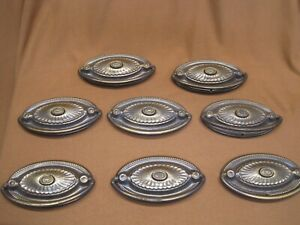 Eight Reclaimed Vintage Salvaged Metal Drawer Cabinet Pull Dresser Oval Pulls