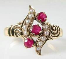 UNUSUAL 9K GOLD VICTORIAN INS RICH INDIAN RUBY & NATURAL PEARL RING
