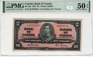 Canada 1937 2 Dollars PMG Certified Banknote AU 50 EPQ Gordon Towers 22b L/B