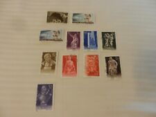 Lot of 11 Romania Stamps from 1945, 1957, 1961 Space Dog, Statues