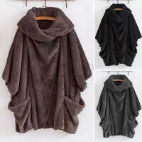 UK Women Winter Fluffy Fur Batwing Sleeve Baggy Cape Tops Coat Outwear Plus
