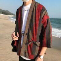 Mens Japanese Kimono Jacket Linen Cotton Tops Striped Coat Loose Cardigan Casual