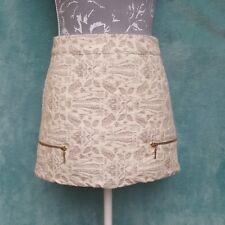 Pull&Bear Skirt Mini Size UK 12 Beige Cream Jacquard Damask Zips Detail A-line