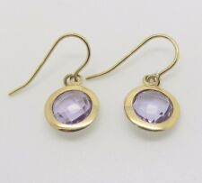 9ct Yellow Gold Round Faceted Purple Amethyst Drop Earrings | Free UK Delivery