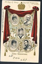GILT EMBOSSED TUCK POSTCARD THREE GENERATIONS Five insets of Royal Family 1902