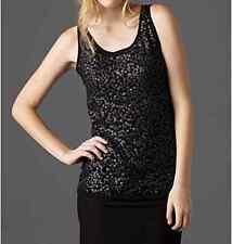 $178 BNWT Eileen Fisher BLACK Sequin Italian Fine Merino Wool Top Shell XS S M