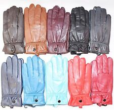 GENUINE HIGH QUALITY LADIES GIRLS LEATHER MATCHING FASHION GLOVES DRIVING WARM