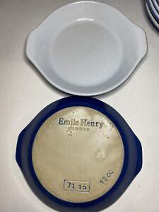 "Emile Henry Blue Au Gratin Circular 6"" Dish France 1200"