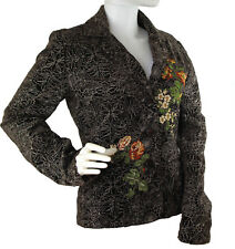 JOHNNY WAS Embroidered Floral Brown Velvet Blazer /Jacket 100% Cotton Size Small