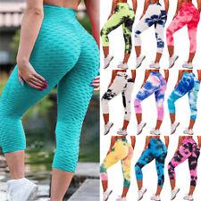 Womens Anti Cellulite Capri Yoga Pants High Waist Leggings Cropped Sports Gym