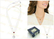 NWT Authentic $120 Swarovski CRYSTAL WISHES HEART PENDANT SET RED MIXED PLATING