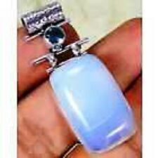 #Opalite & 925 SilverHandmadeStylishPendant 42mm MA10-3247&92.5^silver chain&box