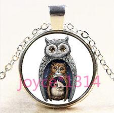 Vintage Love Owl Cabochon Tibetan silver Glass Chain Pendant Necklace #4459