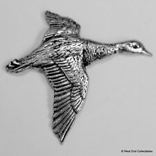 Flying Duck Mallard Pewter Brooch Pin - British Artisan Signed Badge- Bird Drake