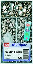 Prym Multipack 100 Druckknöpfe Sport Camping 15 mm silber