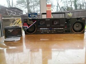 BUNDLE -VINTAGE SHARP QT90 GHETTO BOOMBOX,+ B/NEW STEREO CASSETTE PLAYER JC-102!