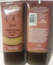 2 Covergirl queen cover+care cream oil free amber glow evens skin tone Q610 1 oz